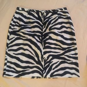 Fuzzy Zebra Print Skirt